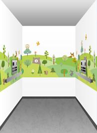壁紙にイラストを使用した内装イメージ